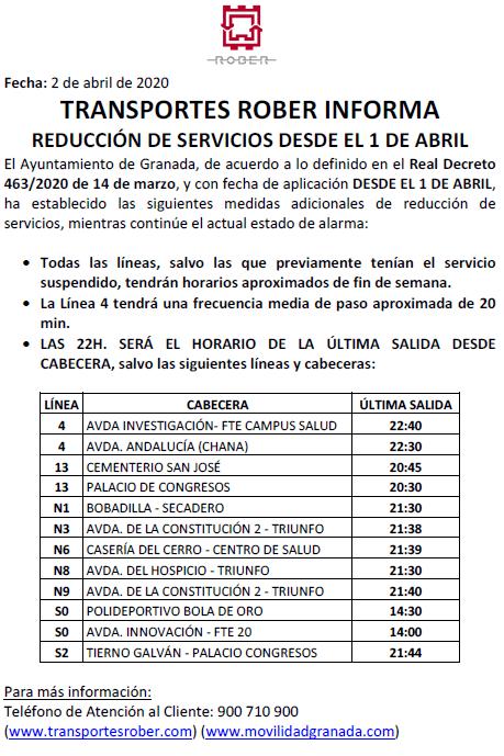 Reduccion servicios bus urbano granada abril covid-19